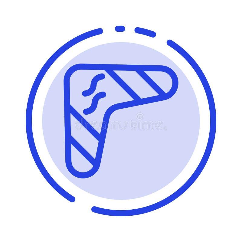 Australia, australijczyk, bumerang, Miejscowy, podróż, broni linii linii błękit Kropkująca ikona ilustracja wektor