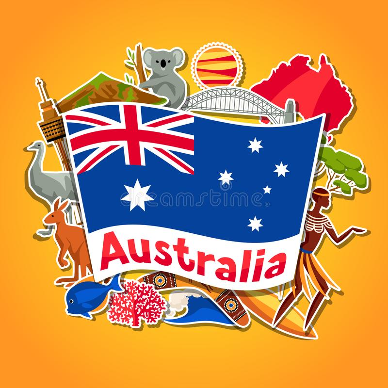 Download australia background design australian traditional sticker symbols and objects stock vector illustration of