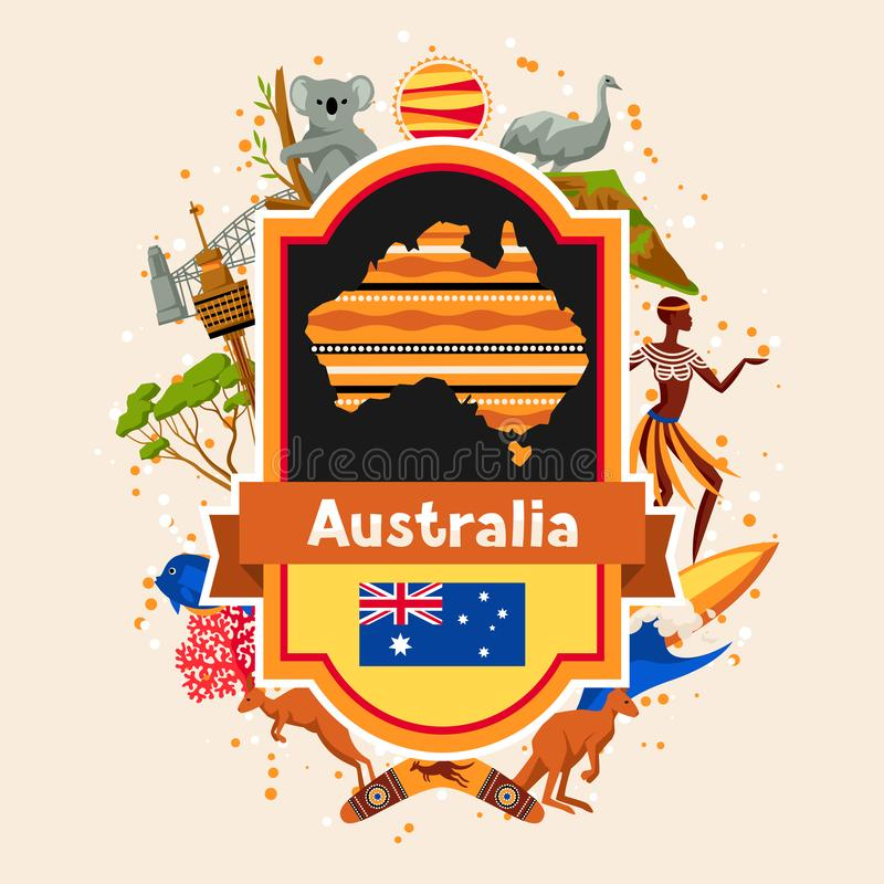 Australia background design. Australian traditional symbols and objects vector illustration
