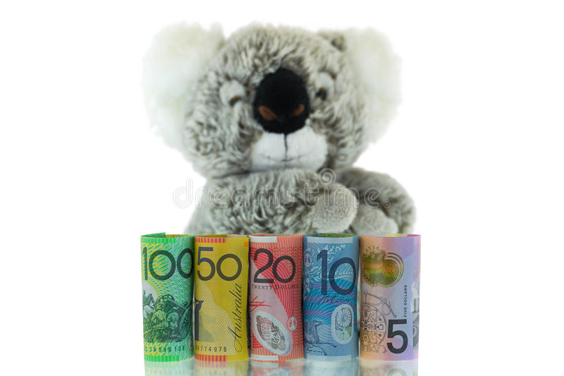 Australia Banknote with blurred Koala background. Different Australian dollars money. Rolls of Australia Banknote with blurred Koala background. Different royalty free stock photo