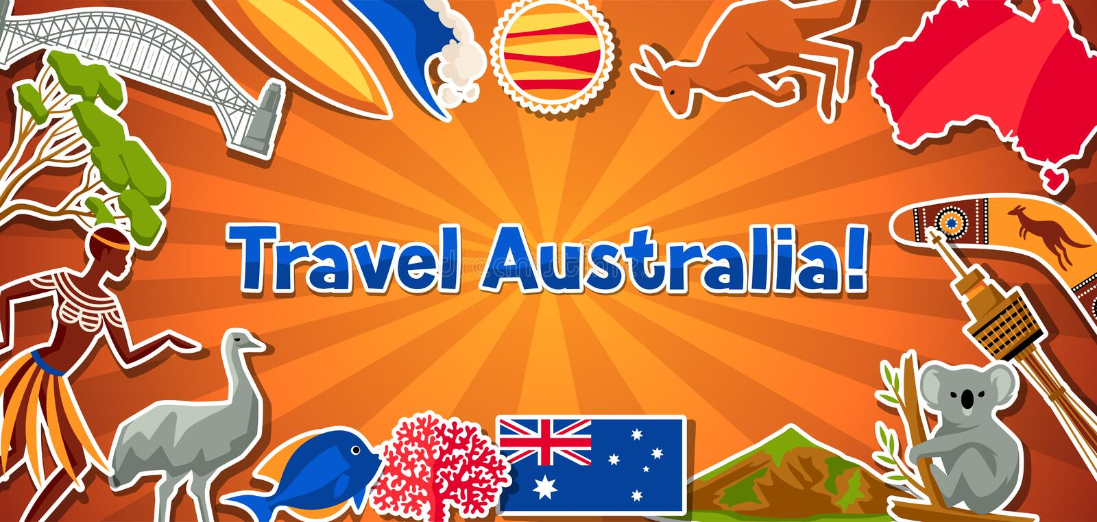 Download australia banner design australian traditional sticker symbols and objects stock vector illustration of