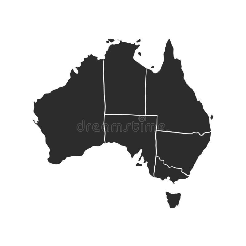 Australia black vector map isolated on white background royalty free illustration