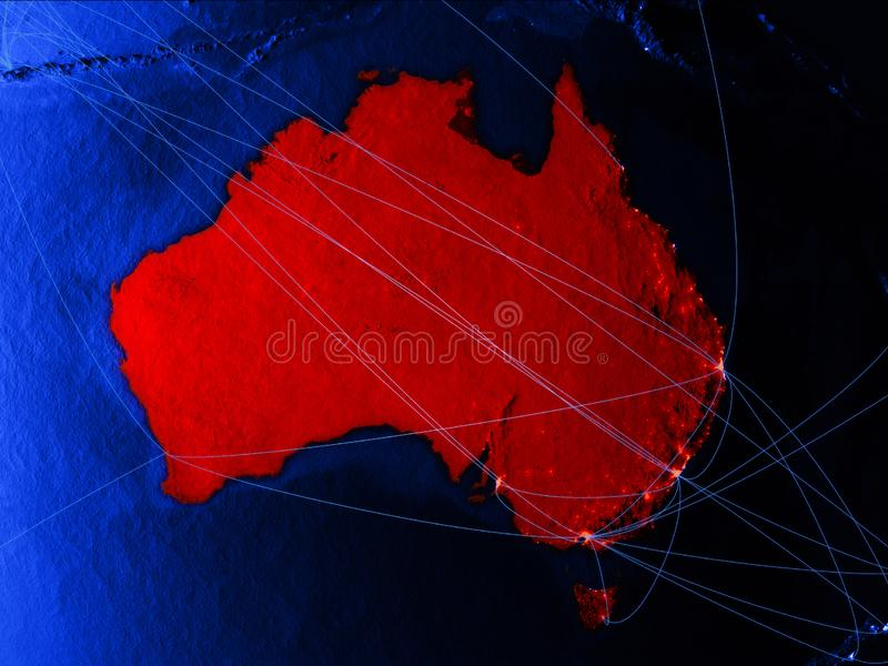 Australia on blue digital map with networks. Concept of international travel, communication and technology. 3D illustration. royalty free illustration