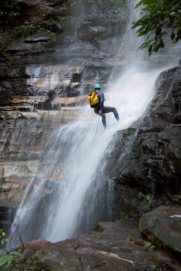 Australia: Blue Mountains waterfall rapelling stock photo