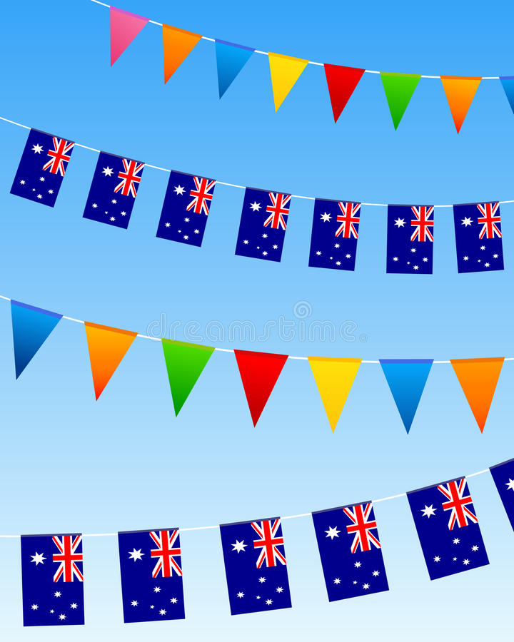 Download Australia bunting flags stock illustration. Image of seamless - 20409608