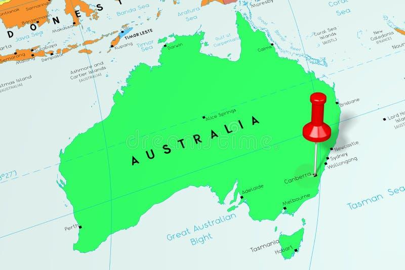 Australia, Canberra - stolica, przyczepiająca na politycznej mapie ilustracji