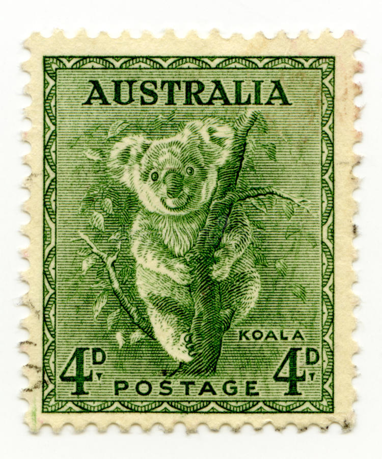 Australia cancelled stamp 1937 Koala stock photography
