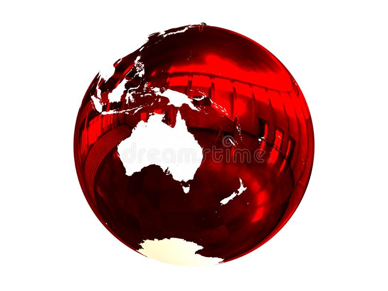 Australia on Christmas ball. Red Christmas ball with texture of Earths surface facing Australia. 3D illustration, isolated on white background stock illustration