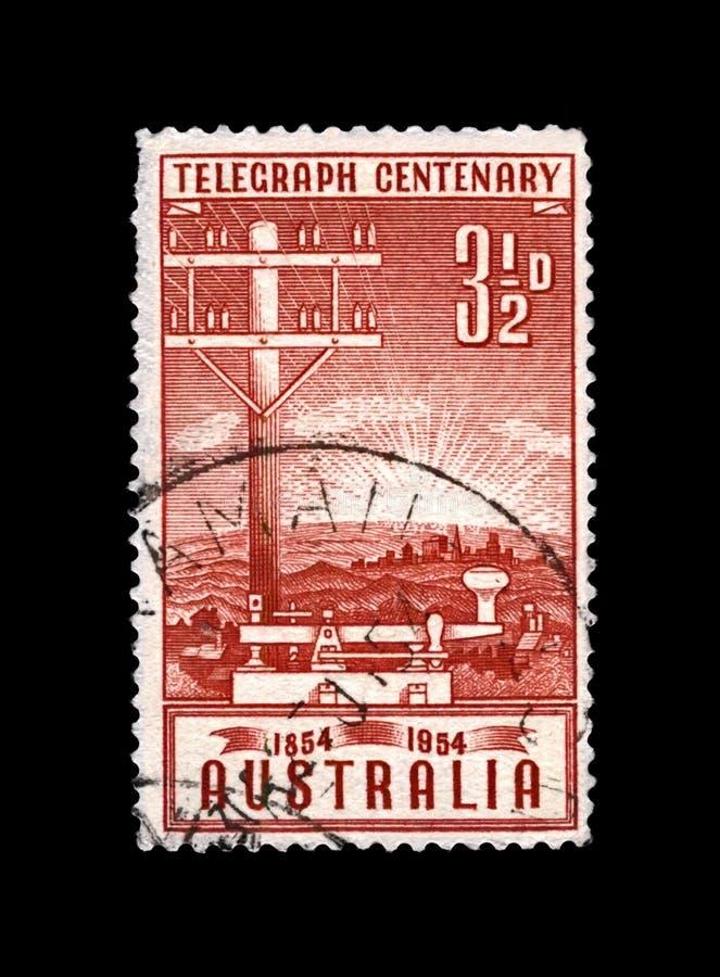 Telegraph pole and key, 100th anniversary of inauguration of the telegraph in Australia, circa 1954, stock image
