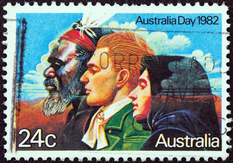 AUSTRALIA - CIRCA 1982: A stamp printed in Australia shows the `Three Great Waves of Migration`, circa 1982. AUSTRALIA - CIRCA 1982: A stamp printed in royalty free stock photos