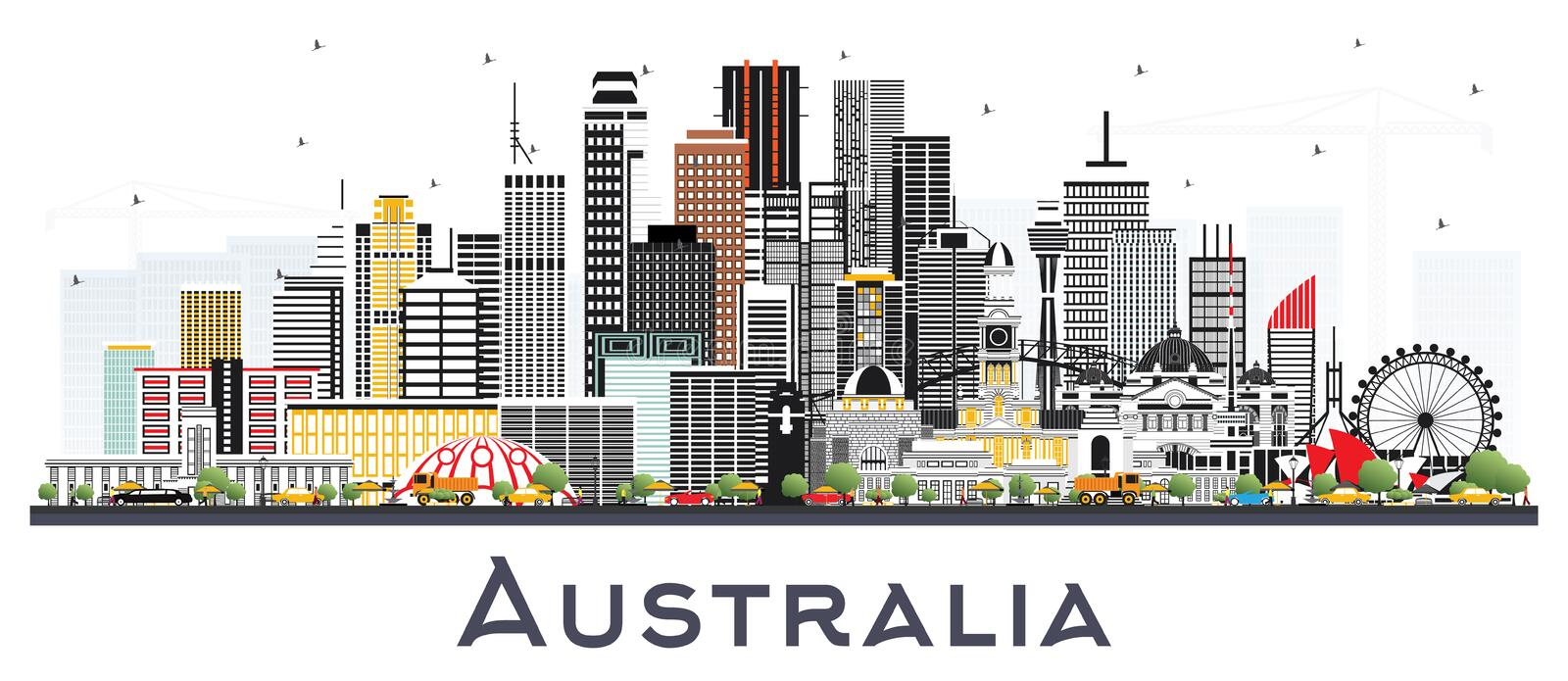Australia City Skyline with Gray Buildings Isolated on White royalty free illustration