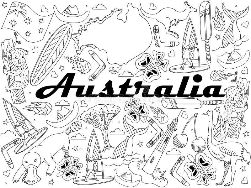 Download Australia Coloring Vector Illustration Stock