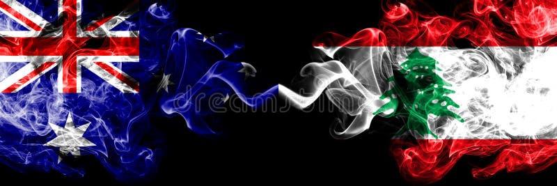 Australia contra Líbano, banderas místicas ahumadas libanesas colocadas de lado a lado Grueso coloreado sedoso fuma la combinació imágenes de archivo libres de regalías