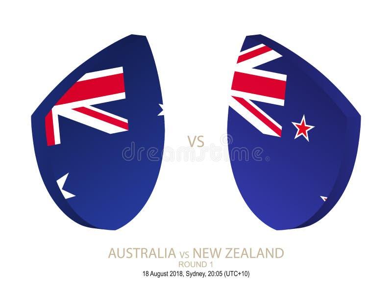 Australia contra Nueva Zelanda, campeonato 2018 del rugbi, alrededor de 1 stock de ilustración