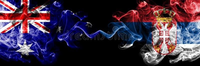 Australia contra Serbia, banderas místicas ahumadas servias colocadas de lado a lado Grueso coloreado sedoso fuma la combinación  libre illustration