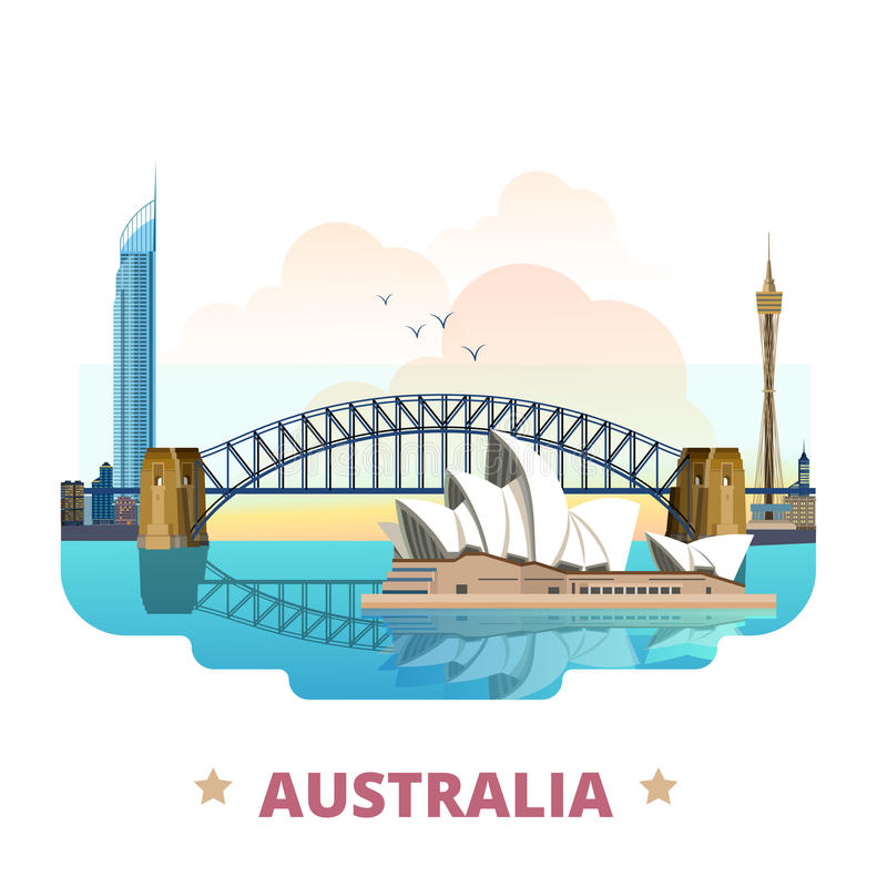 Australia country design template Flat cartoon sty stock illustration