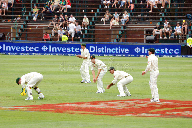 Australia Cricket tour to South Africa Feb 2009. Australian wicket keeper Brad Haddin in action, Ricky Ponting and other slip fielders for Australia in the royalty free stock photo