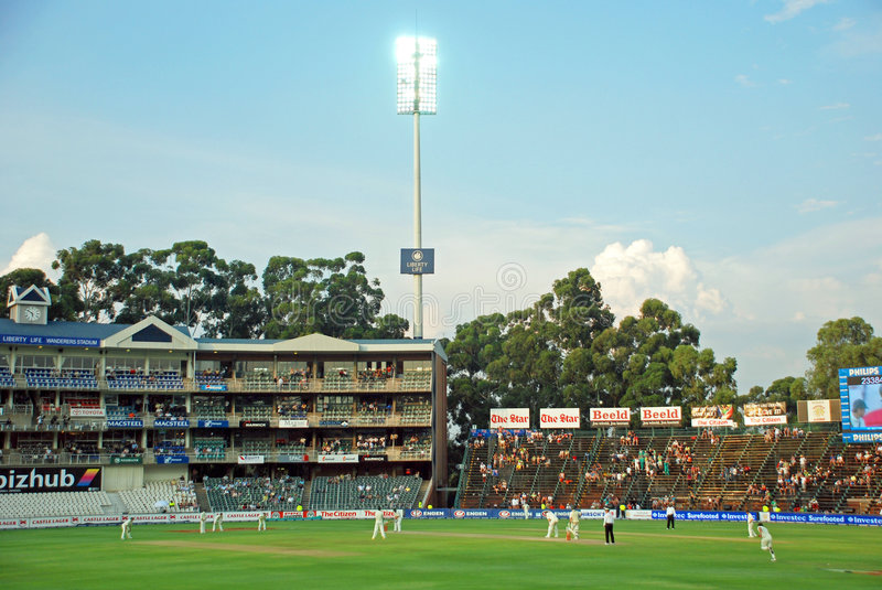 Australia Cricket tour to South Africa Feb 2009. Image of the Johannesburg Wanderers Cricket stadium in the first test Match between Australia and South Africa royalty free stock photography