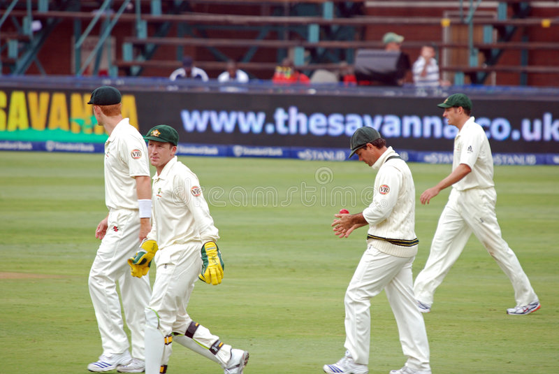 Australia Cricket tour to South Africa Feb 2009. Australian cricket player wicket keeper Brad Haddin in action, Ricky Ponting and other slip fielders for stock image