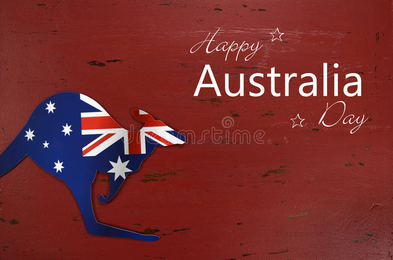 Australia day background with sample text greeting stock photo australia day background with kangaroo shape australian flag on red rustic recycled wood background with sample text m4hsunfo