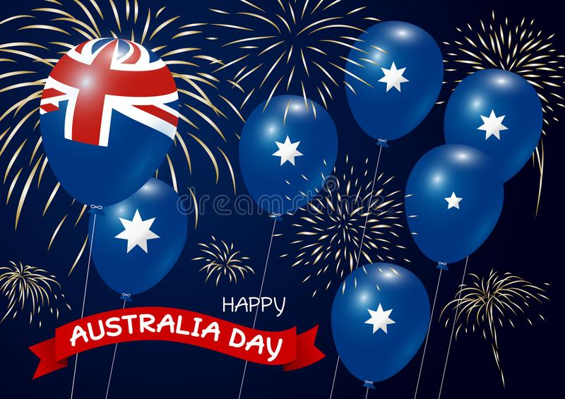 Australia day design of flag and balloon with fireworks stock illustration