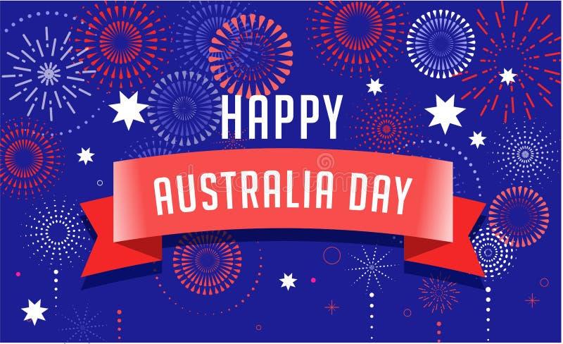 Australia day, fireworks and celebration poster design. Australia day, fireworks and celebration background, poster, banner vector illustration