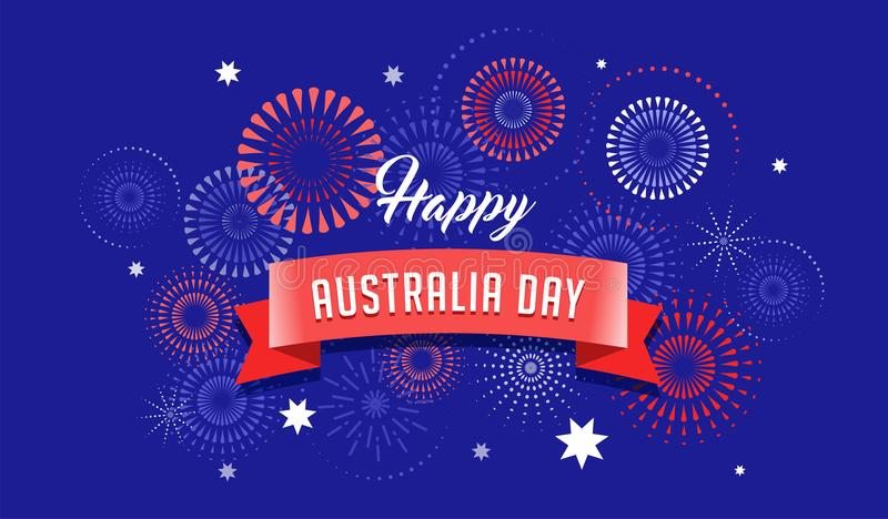 Australia day, fireworks and celebration poster design. Australia day, fireworks and celebration background, poster, banner royalty free illustration