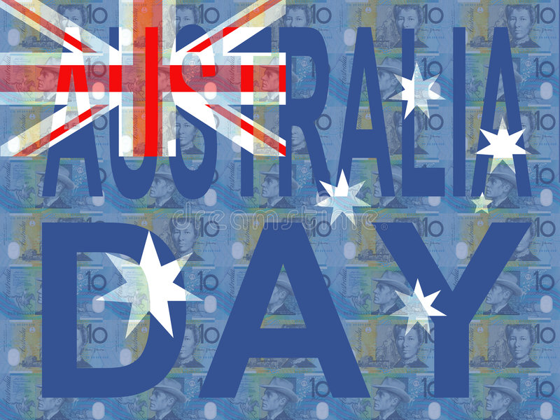 Australia Day with flag. And currency illustration