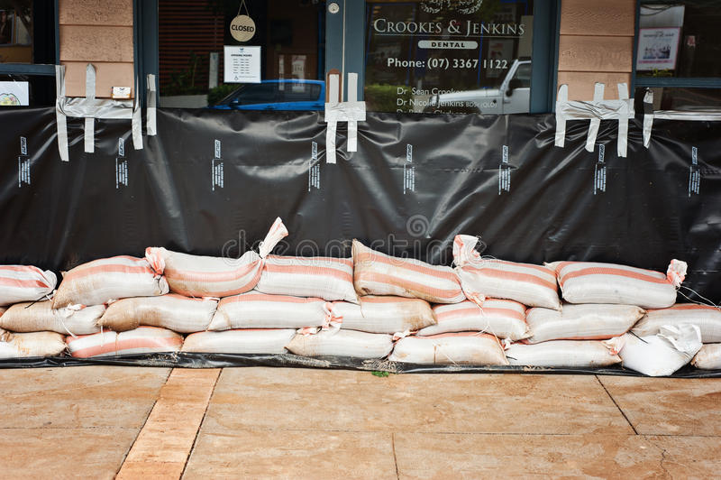 Australia Day floods, sandbags at the ready stock photos