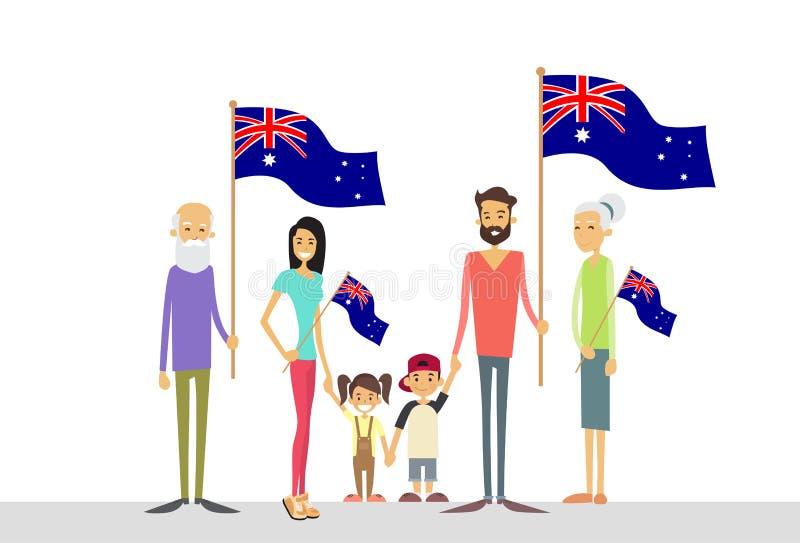 Australia Day National Flag Big Family Kids Parents Grandparents. Flat Vector Illustration stock illustration