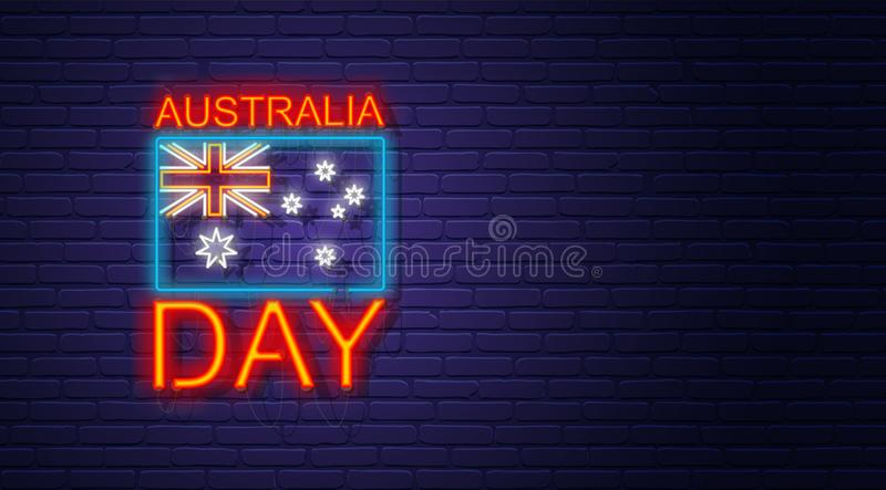 Australia day. Neon sign on brick wall. Australian National Holiday. Flag and text. Horizontal banner template. royalty free illustration