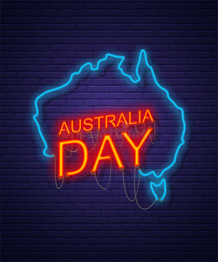 Australia Day. Neon sign on brick wall. Map of Australia. Australian National Holiday royalty free illustration