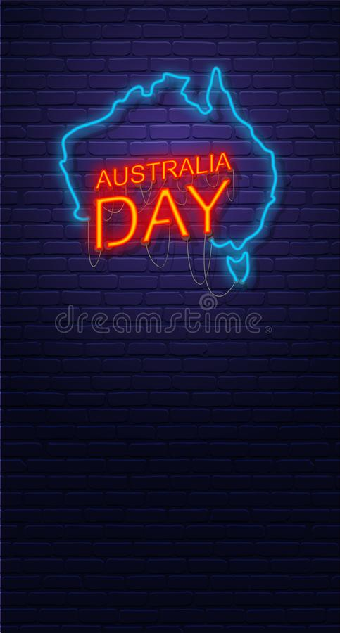 Australia Day. Neon sign on brick wall. Map of Australia. Australian National Holiday. Vertical banner template. royalty free illustration