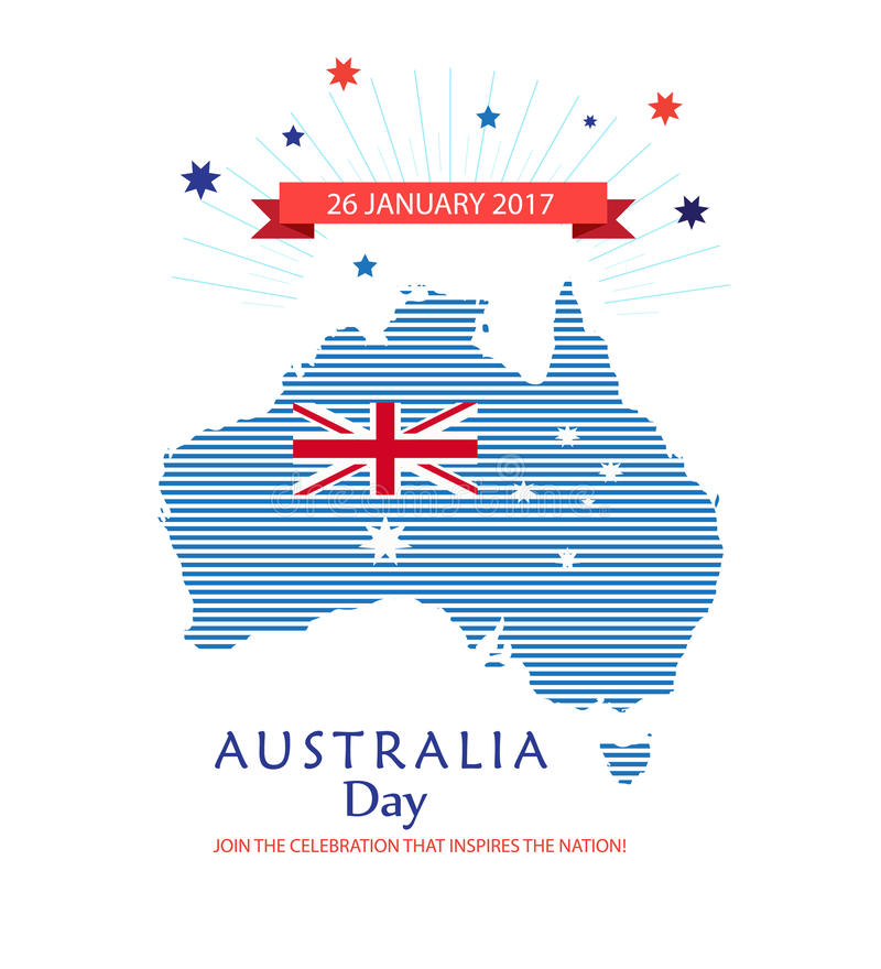 Australia Day poster. With map of Australia with colorful stripped pattern and Australian flag, stars, ribbon, sea wave abstract blue background. Vector stock illustration