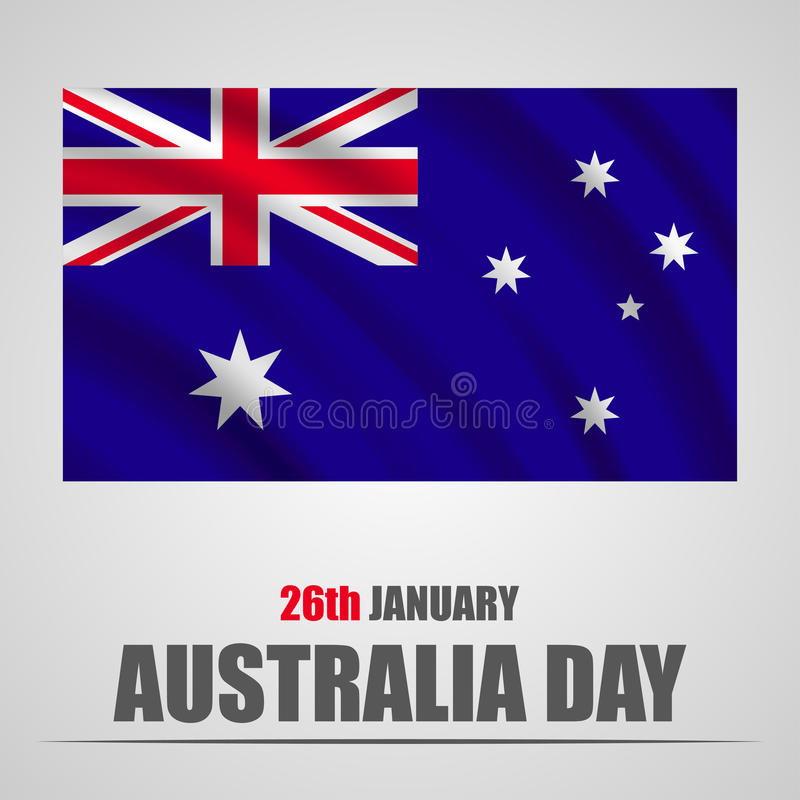 Australia Day with waving flag on a gray background. Vector illustration vector illustration