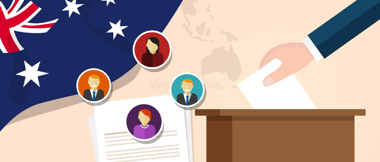 Australia democracy political process selecting president or parliament member with election and referendum freedom to. Vote vector vector illustration