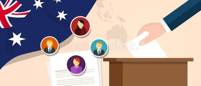 Australia demokraci proces polityczny wybiera prezydenta lub parlamentu członka z wolnością wybory i referendum ilustracja wektor