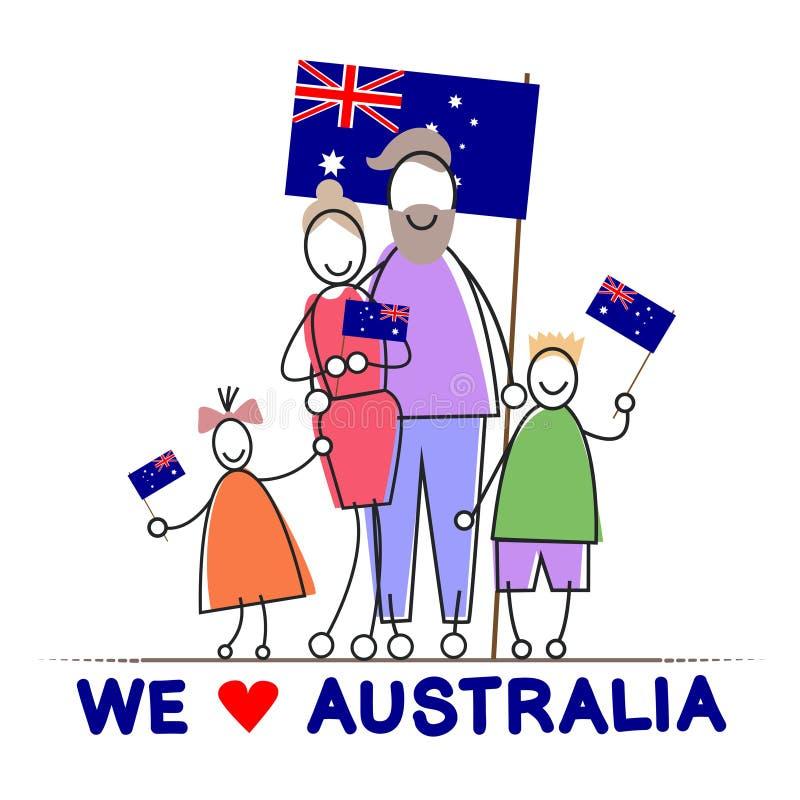 Australia dnia flaga państowowa rodziny dzieciaków uścisk ilustracja wektor