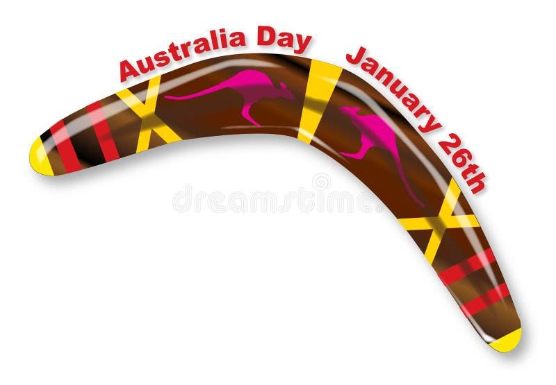 Australia dzień Dekorujący bumerang ilustracja wektor