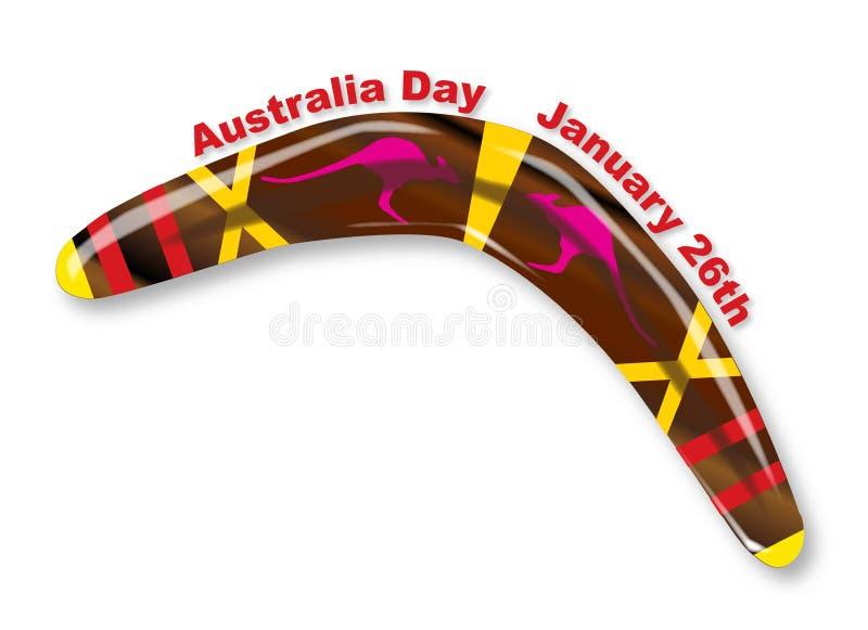 Australia dzień Dekorujący bumerang royalty ilustracja