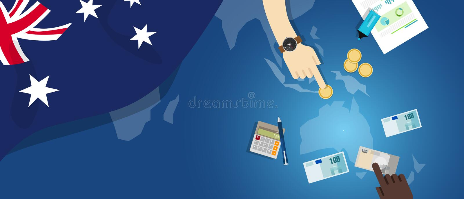 Australia economy fiscal money trade concept illustration of financial banking budget with flag map and currency. Australia Dutch economy fiscal money trade stock illustration