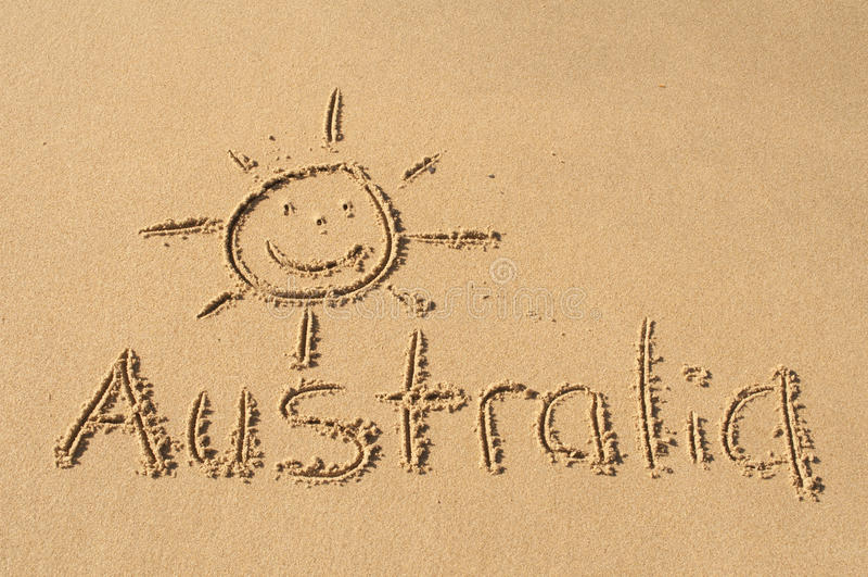 Australia en la arena fotos de archivo libres de regalías