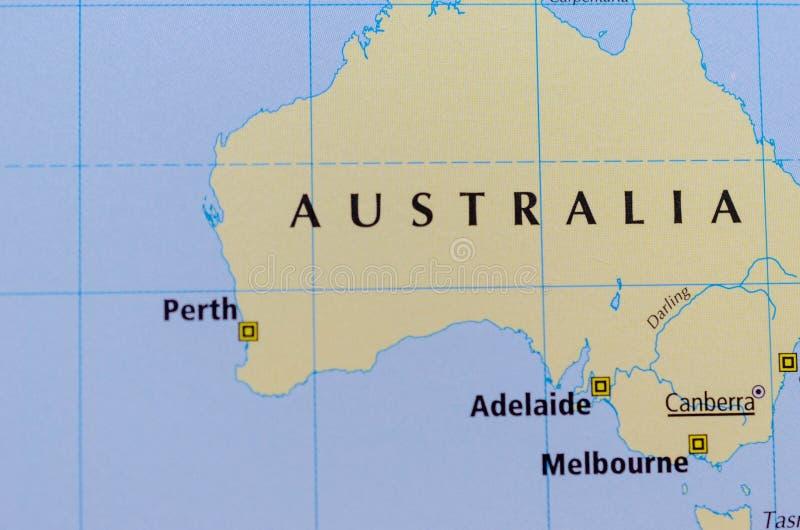 Australia en mapa fotografía de archivo