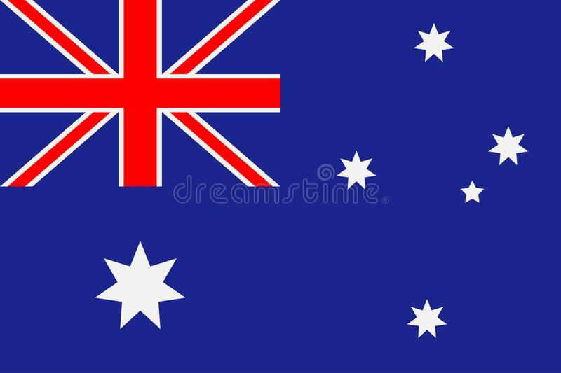 Australia flag. Blue background with a six-pointed stars and a red cross. Vector. royalty free illustration