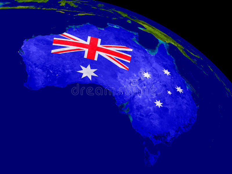 Australia with flag on Earth. Map of Australia with embedded flag on planet surface. 3D illustration. Elements of this image furnished by NASA stock illustration