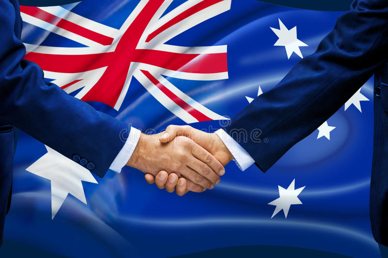 Australia Flag Handshake Business stock image