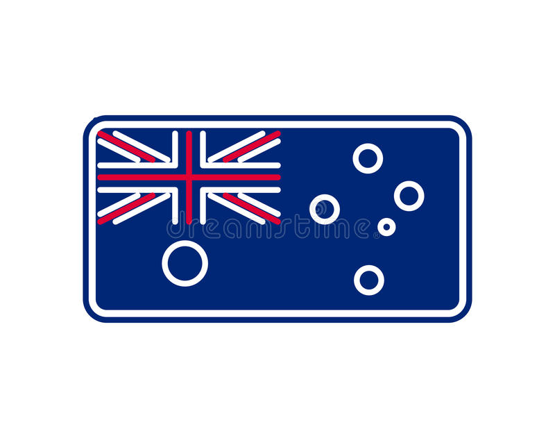 Australia flag linear style. Sign Australian. National Symbol stock illustration