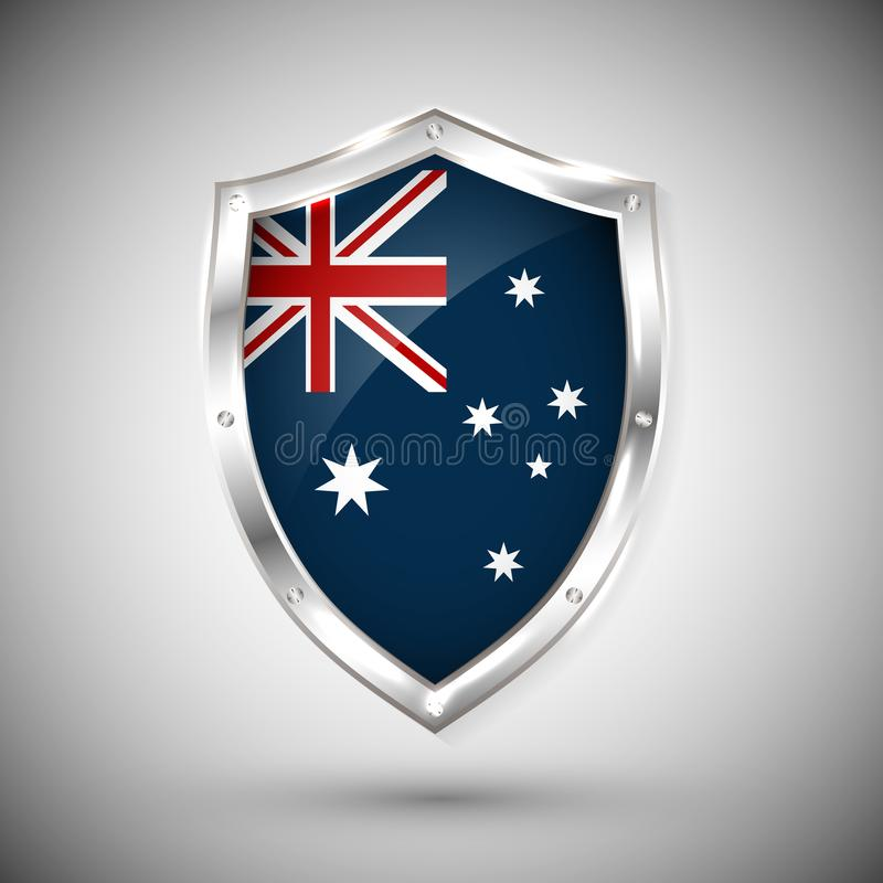Australia flag on metal shiny shield vector illustration. Collection of flags on shield against white background. Abstract isolate stock illustration