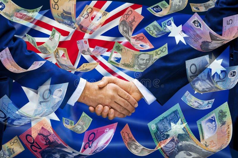 Australia Flag Money Handshake Business Influence stock photography