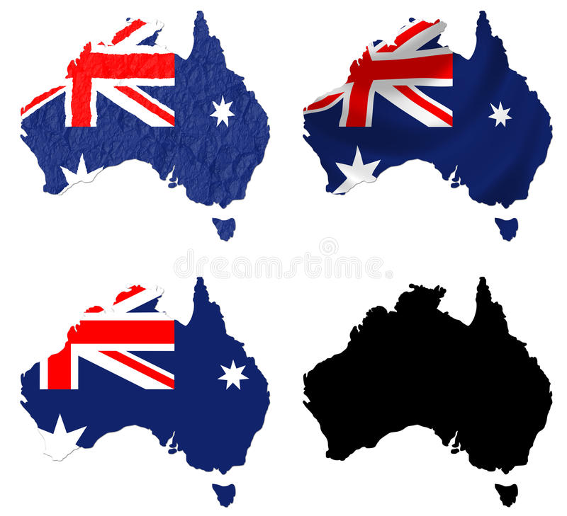 Australia flag over map collage vector illustration